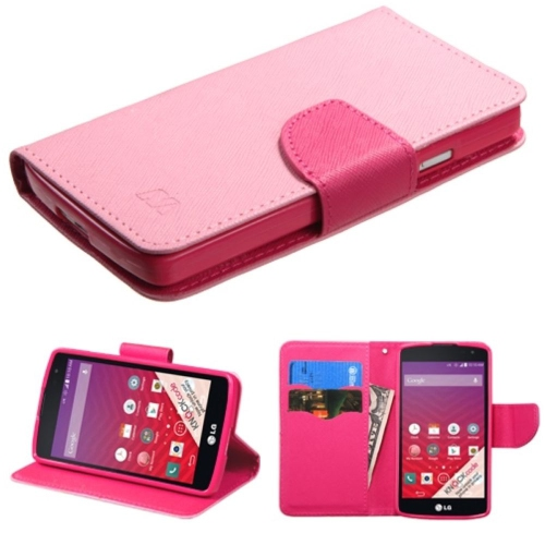 Insten Folio Leather Fabric Case w/stand/card slot For LG Optimus F60 - Pink