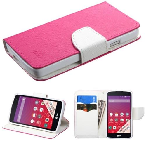 Insten Flip Leather Fabric Case w/stand/card holder For LG Optimus F60 - Hot Pink/White