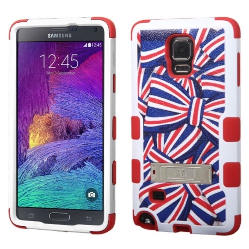 Insten American Bows Hard Hybrid Rubber Silicone Case w/stand For Samsung Galaxy Note 4, Blue/Red