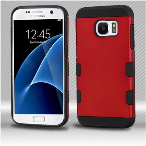 Insten Hard Rubberized Silicone Case For Samsung Galaxy S7 - Red/Black
