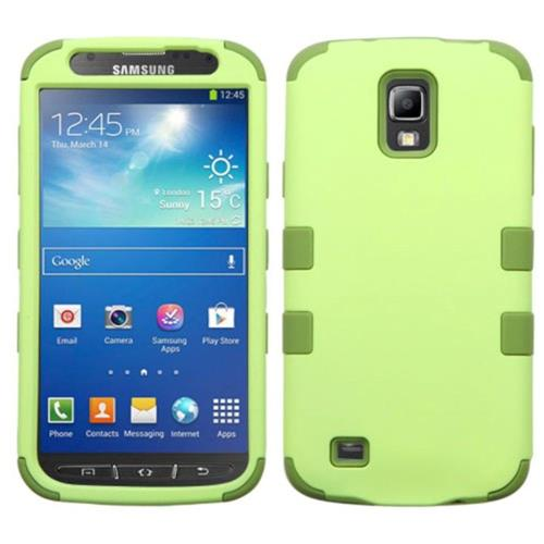 Insten Tuff Hard Hybrid Rubberized Silicone Cover Case For Samsung Galaxy S4 Active - Green