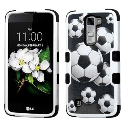 Insten Soccer Ball Collage Hard Dual Layer Rubber Silicone Case For LG K7 Tribute 5, Black/White