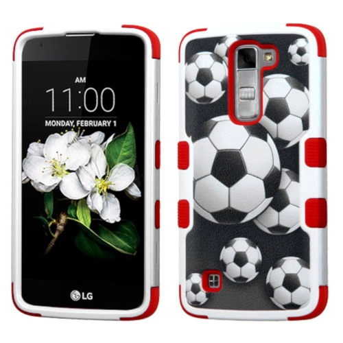 Insten Tuff Soccer Ball Collage Hard Hybrid Silicone Case For LG K7 Tribute 5 - Black/Red