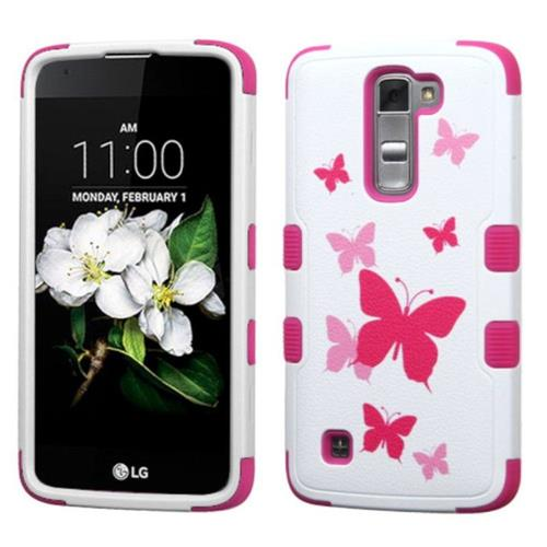 Insten Butterfly Dancing Hard Hybrid Rubberized Silicone Cover Case For LG K7 Tribute 5, Pink/White