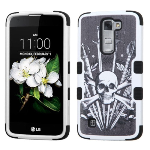 Insten Sword & Skull Hard Hybrid Rubber Coated Silicone Cover Case For LG K7 Tribute 5, Black/White