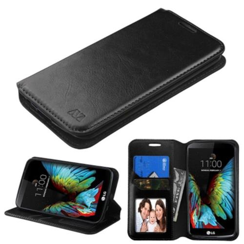 Insten Folio Leather Fabric Case w/stand/card holder/Photo Display For LG K10 (2016) - Black
