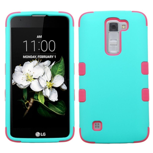 Insten Tuff Hard Dual Layer Silicone Case For LG K7 Tribute 5 - Teal/Hot Pink