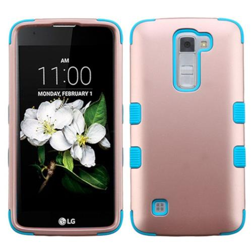 Insten Tuff Hard Hybrid Silicone Case For LG K7 Tribute 5 - Rose Gold/Blue