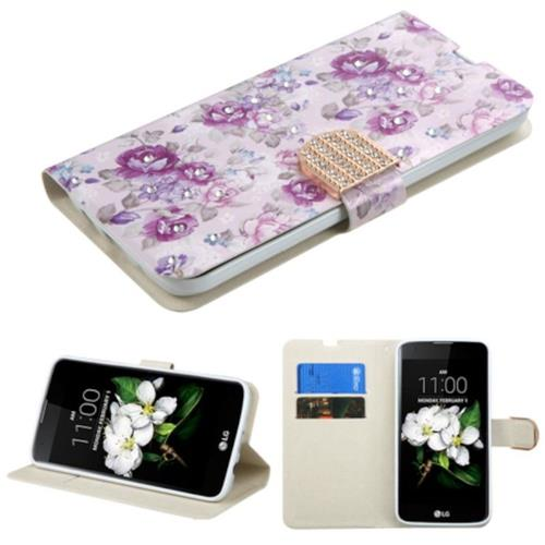 Insten Flowers Case w/stand/card holder/Diamond For LG K7 Tribute 5/K8 (2016), Purple/White