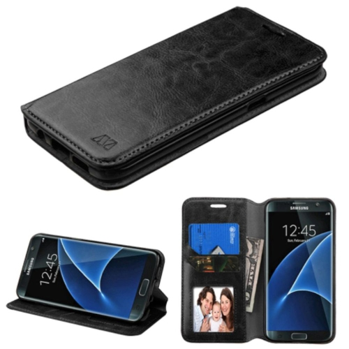 Insten Flip Leather Fabric Case w/stand/card holder/Photo Display For Samsung Galaxy S7 Edge - Black