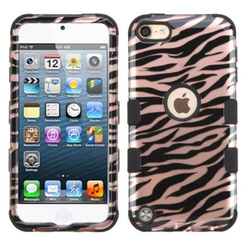 Insten Zebra Hard Rubber Coated Silicone Case For Apple iPod Touch 5th Gen/6th Gen, Rose Gold/Black