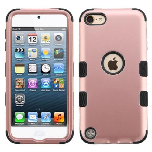 Insten Hard Hybrid Rubberized Silicone Case For Apple iPod Touch 5th Gen/6th Gen, Rose Gold/Black