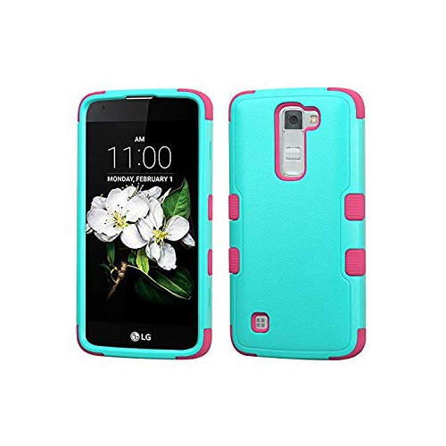 Insten Tuff Hard Hybrid Rubber Coated Silicone Cover Case For LG K7 Tribute 5 - Teal/Pink