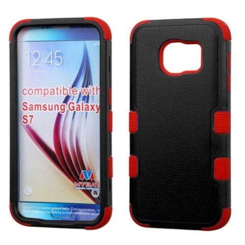 Insten Tuff Hard Dual Layer Silicone Case For Samsung Galaxy S7 - Black/Red