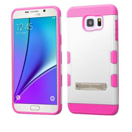 Insten Hard Hybrid Rubberized Silicone Case w/stand For Samsung Galaxy Note 5 - White/Hot Pink