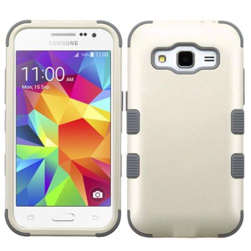 Insten Tuff Hard Dual Layer Rubber Silicone Cover Case For Samsung Galaxy Core Prime - White/Gray