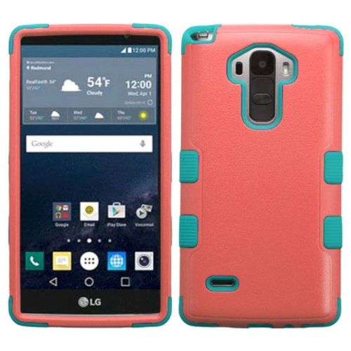 Insten Tuff Hard Hybrid Rubberized Silicone Case For LG G Stylo LS770 - Red/Teal