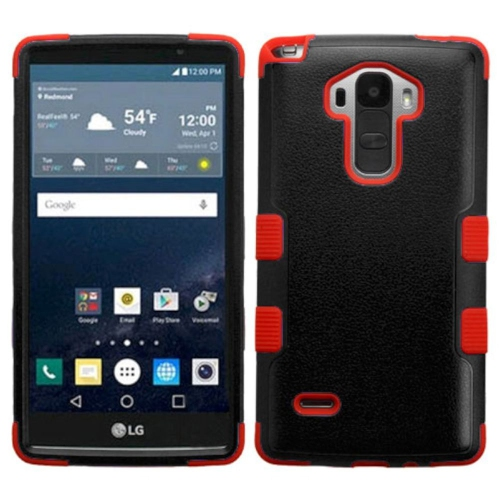 Insten Tuff Hard Dual Layer Rubber Coated Silicone Case For LG G Stylo LS770 - Black/Red
