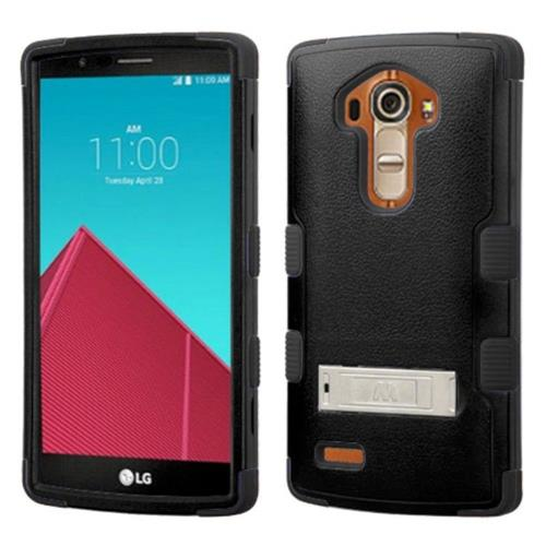 Insten Hard Hybrid Silicone Case w/stand For LG G4 - Black