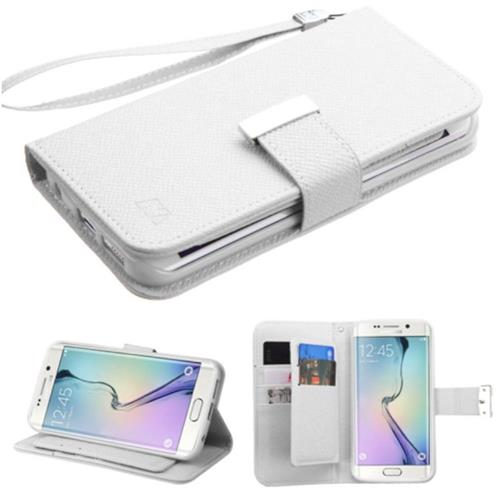 Insten Flip Leather Fabric Case Lanyard w/stand/card slot For Samsung Galaxy S6 Edge - White