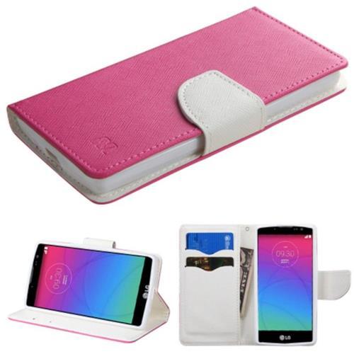 Insten Flip Leather Fabric Case w/stand/card holder For LG Spirit 4G - Hot Pink/White