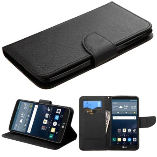 Insten Folio Leather Fabric Case w/stand/card slot For LG G Stylo LS770 - Black
