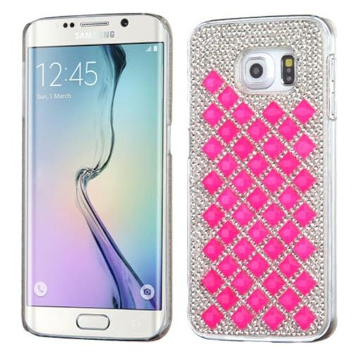 Insten Hard Bling Case For Samsung Galaxy S6 Edge - Silver/Hot Pink