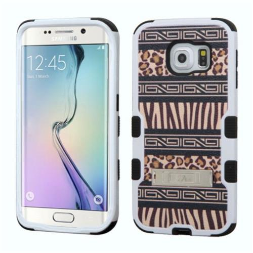 Insten Zebra Hard Hybrid Rubber Coated Silicone Case w/stand For Samsung Galaxy S6 Edge, Brown/Black