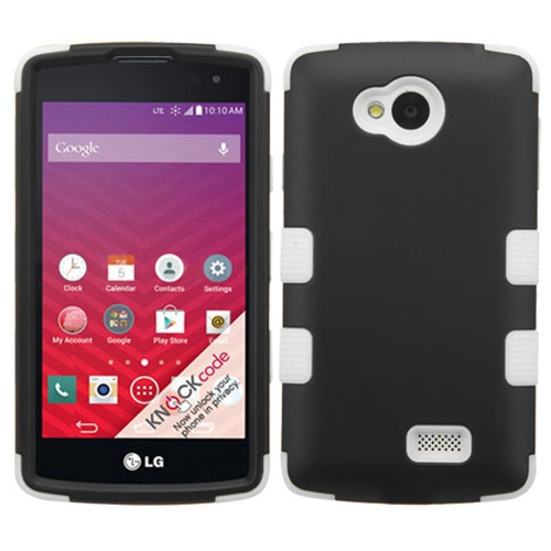 Insten Tuff Hard Hybrid Silicone Cover Case For LG Optimus F60 - Black/White