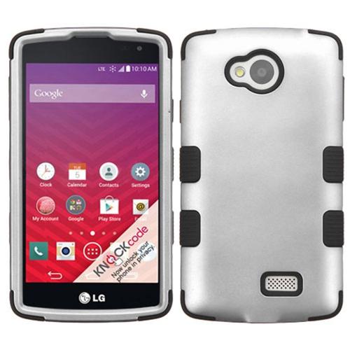 Insten Tuff Hard Hybrid Rubber Silicone Case For LG Optimus F60 - Gray/Black