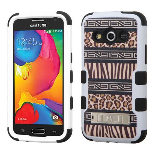 Insten Tuff Zebra Hard Dual Layer Rubber Silicone Case w/stand For Samsung Galaxy Avant, Brown/Black