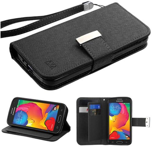 Insten Book-Style Leather Fabric Case Lanyard w/stand/card slot For Samsung Galaxy Avant - Black