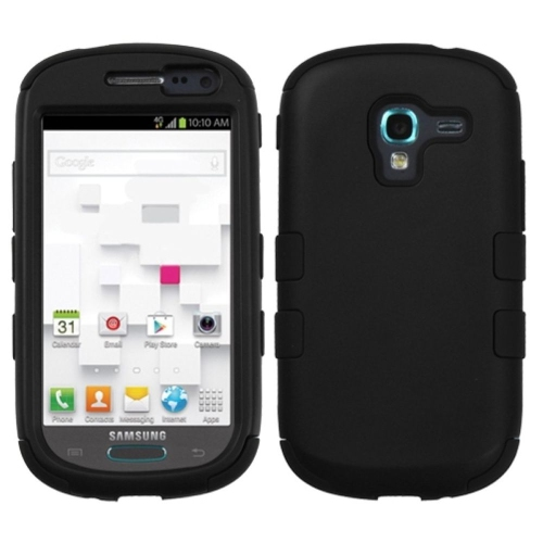 Insten Tuff Hard Dual Layer Rubber Coated Silicone Cover Case For Samsung Galaxy Exhibit T599, Black