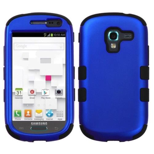 Insten Hard Hybrid Rubberized Silicone Cover Case For Samsung Galaxy Exhibit T599, Dark Blue/Black