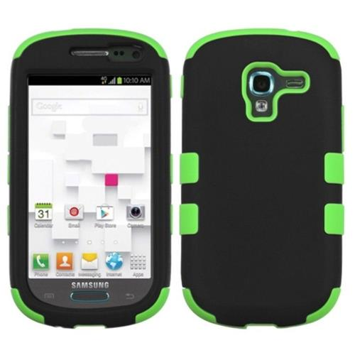 Insten Tuff Hard Hybrid Rubberized Silicone Case For Samsung Galaxy Exhibit T599 - Black/Neon Green