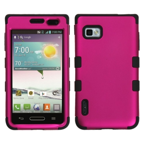 Insten Titanium Hot Pink/Black TUFF Hybrid Hard Case For LG Optimus F3 LS720 (Sprint)
