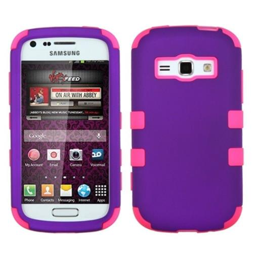Insten Hard Rubber Coated Silicone Case For Samsung Galaxy Prevail 2/Ring, Purple/Hot Pink