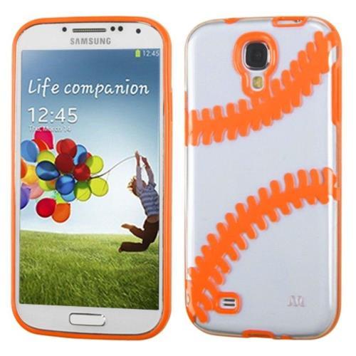 Insten Baseball Rubber Case For Samsung Galaxy S4/S4 (LTE version) - Clear/Orange