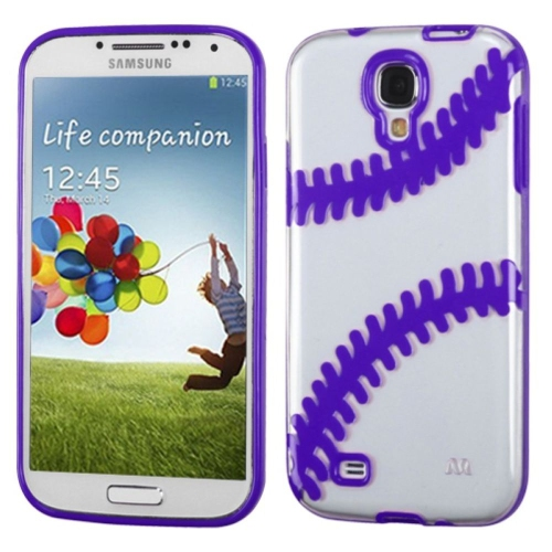 Insten Baseball Gel Case For Samsung Galaxy S4/S4 (LTE version) - Clear/Purple