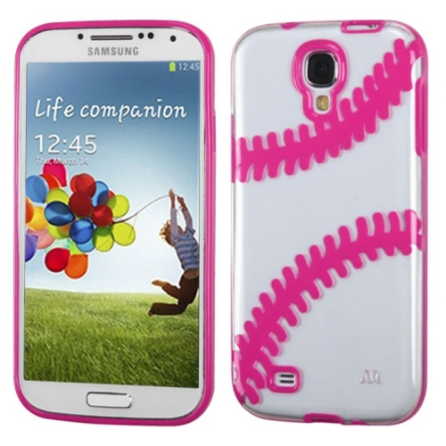 Insten Baseball Rubber Case For Samsung Galaxy S4/S4 (LTE version) - Clear/Hot Pink