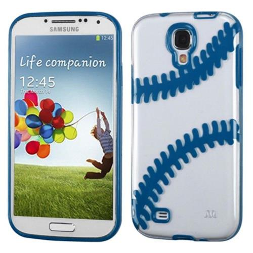 Insten Baseball Gel Cover Case w/stand For Samsung Galaxy S4/S4 (LTE version) - Clear/Dark blue
