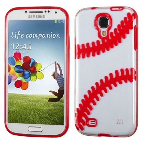 Insten Baseball TPU Cover Case For Samsung Galaxy S4/S4 (LTE version) - Clear/Red