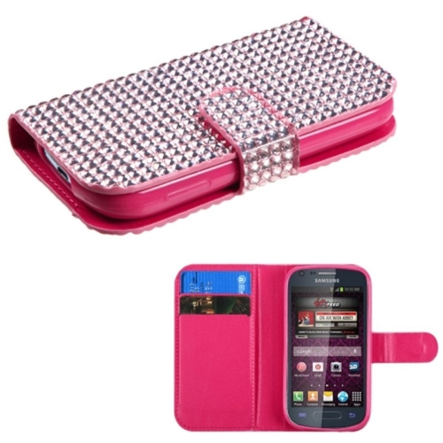 Insten Leather Rhinestone Cover Case w/card holder For Samsung Galaxy Prevail 2/Ring, Pink