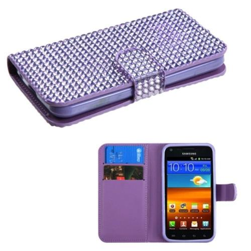 Insten Folio Leather Diamond Case w/card holder For Samsung Galaxy S2 Epic 4G Touch D710, Purple