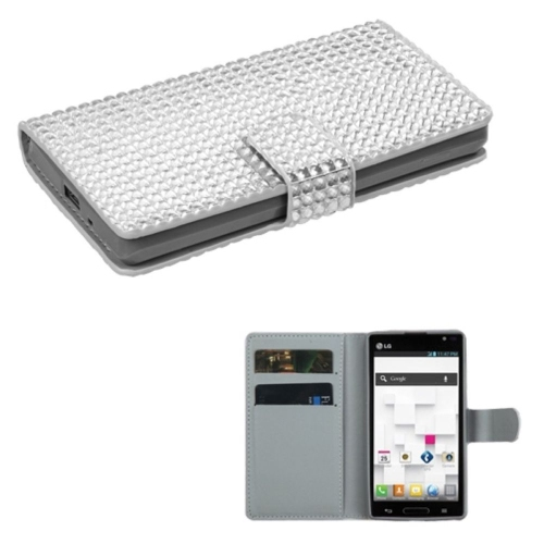 Insten Flip Leather Rhinestone Case w/card holder For LG Optimus L9 P769 - Silver