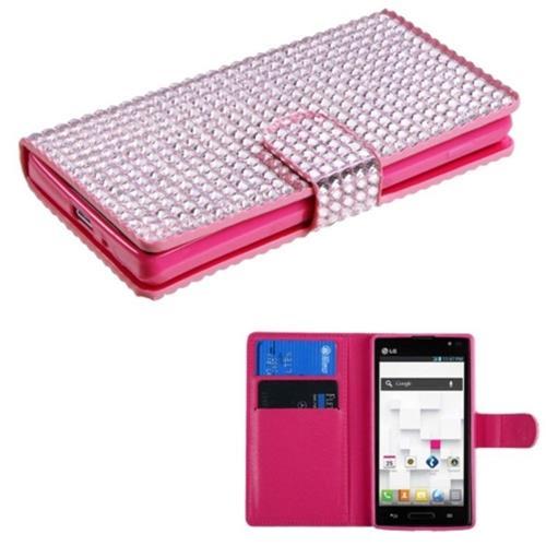 Insten Flip Leather Diamond Case w/card holder For LG Optimus L9 P769 - Pink