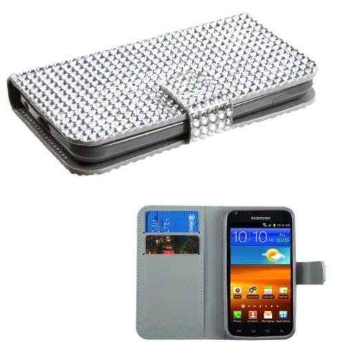 Insten Folio Leather Diamante Case w/card slot For Samsung Galaxy S2 Epic 4G Touch D710 - Silver