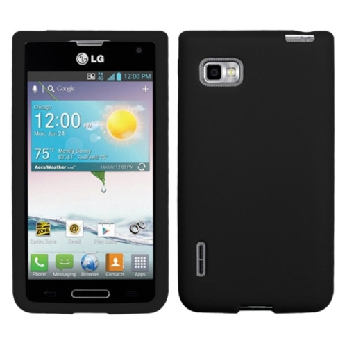 Insten Skin Rubber Cover Case For LG Optimus F3 MS659 (MetroPCS) - Black