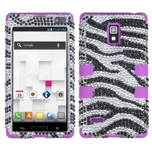 Insten Zebra Hard Rubber Coated Silicone Cover Case w/Diamond For LG Optimus L9 P769, Black/White