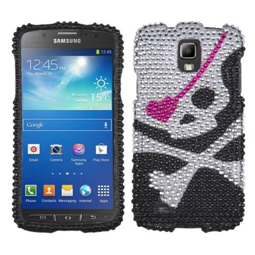 Insten Skull Hard Rhinestone Cover Case For Samsung Galaxy S4 Active - Black/Silver